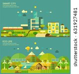 ecology concept. modern city  ... | Shutterstock .eps vector #631927481