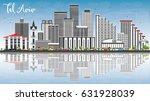 tel aviv skyline with gray... | Shutterstock .eps vector #631928039