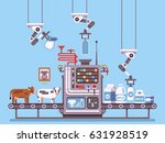milk manufacturing  stage... | Shutterstock .eps vector #631928519