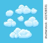 sky with clouds vector pixel... | Shutterstock .eps vector #631928531