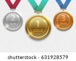 olympic gold  silver and bronze ... | Shutterstock .eps vector #631928579