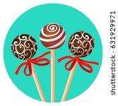 three bonbones on stick with...   Shutterstock .eps vector #631929971