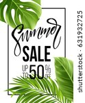 sale banner  poster with palm... | Shutterstock .eps vector #631932725