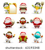santa claus and snowman set | Shutterstock .eps vector #63193348