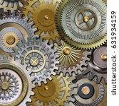 3d metallic gears background | Shutterstock . vector #631934159