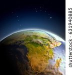 Africa From Space On Earth. 3d...