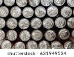 Metallic Cans Top View. Patter...