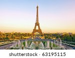 view of eiffel tower at sunset... | Shutterstock . vector #63195115