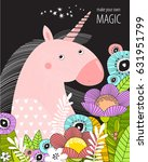 vector poster with a unicorn in ... | Shutterstock .eps vector #631951799