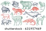 animals with names set. bear ... | Shutterstock .eps vector #631957469