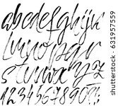 hand drawn dry brush font....   Shutterstock .eps vector #631957559