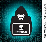 ddos attack. hacker icon with...   Shutterstock .eps vector #631963904