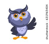 nice owl  he is greeting ... | Shutterstock .eps vector #631965404