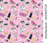 fashion and beauty pattern with ... | Shutterstock . vector #631965725