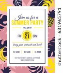 summer party invitation with... | Shutterstock . vector #631965791