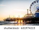 santa monica pier at sunset ... | Shutterstock . vector #631974215
