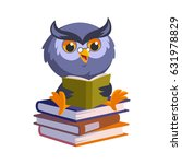 nice owl  he is reading a book  ... | Shutterstock .eps vector #631978829