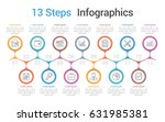 infographic template with 13... | Shutterstock .eps vector #631985381