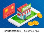 online shopping with card.... | Shutterstock .eps vector #631986761