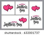 two human heart. happy mother's ... | Shutterstock .eps vector #632001737