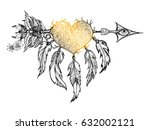 ethnic arrow with feathers and... | Shutterstock .eps vector #632002121