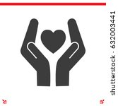 heart and hands vector icon | Shutterstock .eps vector #632003441