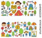 summer camp children  kids... | Shutterstock . vector #632006645