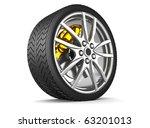 tire and alloy wheel   3d render | Shutterstock . vector #63201013