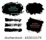 set of black paint  ink brush... | Shutterstock .eps vector #632012174