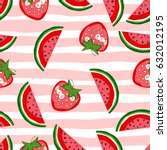 watermelon and strawberry... | Shutterstock .eps vector #632012195