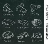 steaks vector set and lettering ... | Shutterstock .eps vector #632014919