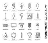 light bulbs flat line icons....