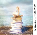 Small photo of Adventure story and fairy tale. Tiny girl with books and magic glowing on landscape background