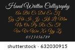 calligraphic alphabet. vector... | Shutterstock .eps vector #632030915