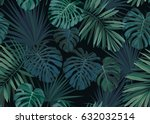 seamless hand drawn botanical... | Shutterstock .eps vector #632032514