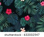 seamless hand drawn botanical...   Shutterstock .eps vector #632032547