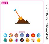 shovel in heap of soil | Shutterstock .eps vector #632036714