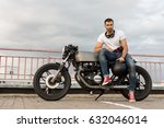 handsome rider guy with a beard ... | Shutterstock . vector #632046014