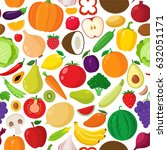 vector fruits and vegetables... | Shutterstock .eps vector #632051171