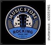 vector music store logo. music... | Shutterstock .eps vector #632051981