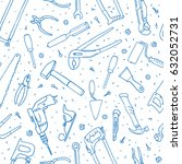 hand drawn tools seamless... | Shutterstock .eps vector #632052731