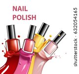 colorful nail lacquer  nail... | Shutterstock .eps vector #632054165
