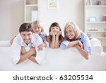 a happy family with kids on the ... | Shutterstock . vector #63205534