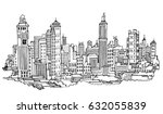 hand drawn city sketch for your ... | Shutterstock .eps vector #632055839