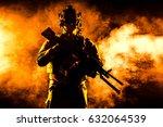 army soldier in combat uniforms ... | Shutterstock . vector #632064539