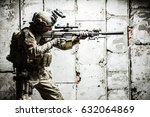 army ranger moving along the... | Shutterstock . vector #632064869