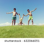 brothers playing upside down on ... | Shutterstock . vector #632066051