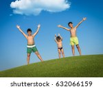 children on the summer grass... | Shutterstock . vector #632066159