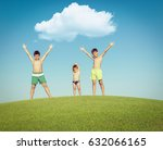 children on the summer grass... | Shutterstock . vector #632066165