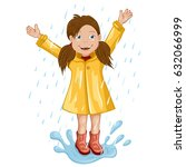 girl in raincoat jumping and... | Shutterstock .eps vector #632066999